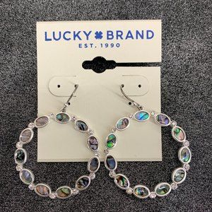 Lucky Brand Silver  Abalone Circle Drop Earrrings